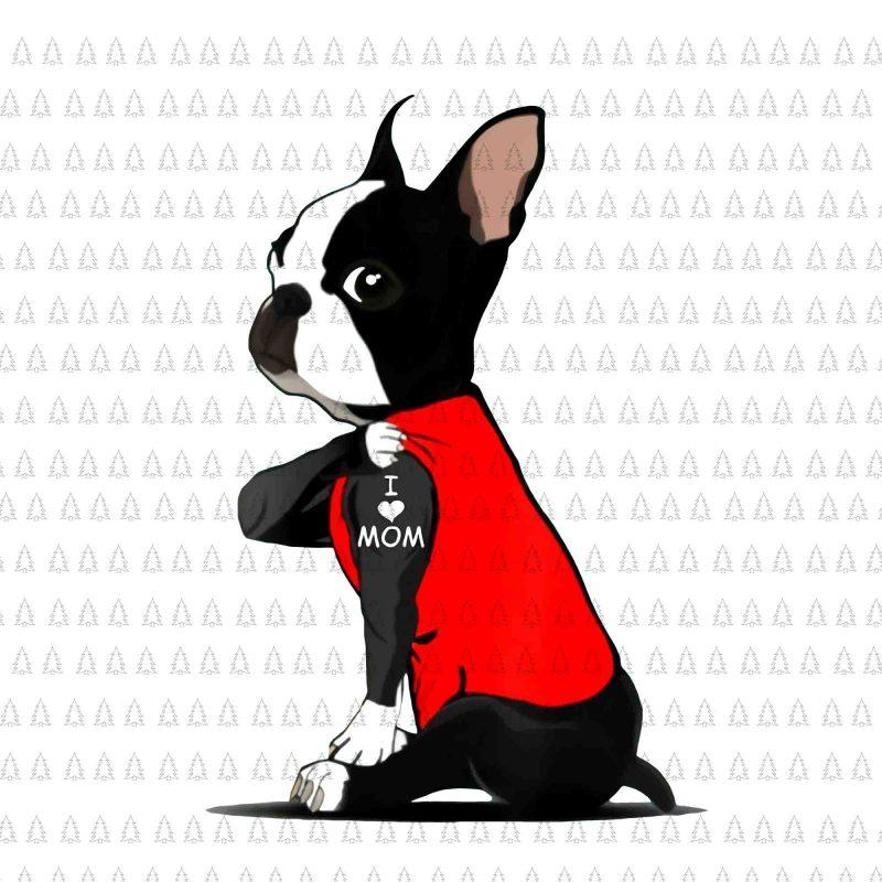 Download Womens Boston Terrier Tattoos I Love Mom png,Womens Boston ...