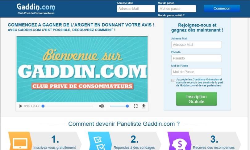 Comment gagner de l'argent avec Gaddin avis site de sondages bien payés