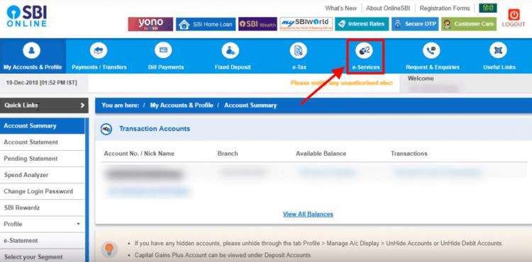 click on e-services