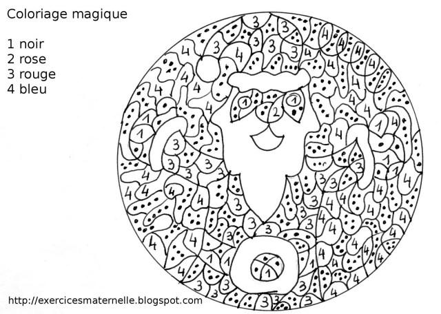 coloriage à dessiner magique noel cp ce26