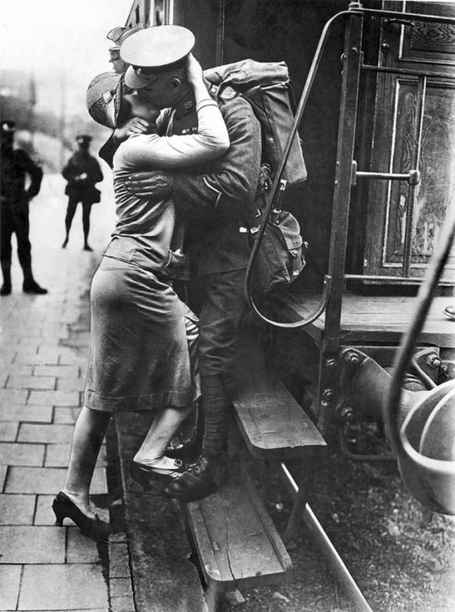 A British Tommie Bestows A Last Kiss Upon His Rhineland Sweetheart