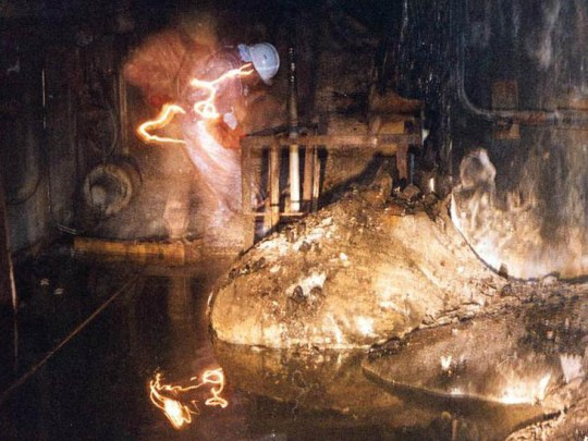 The molten radioactive core after the Chernobyl accident.
