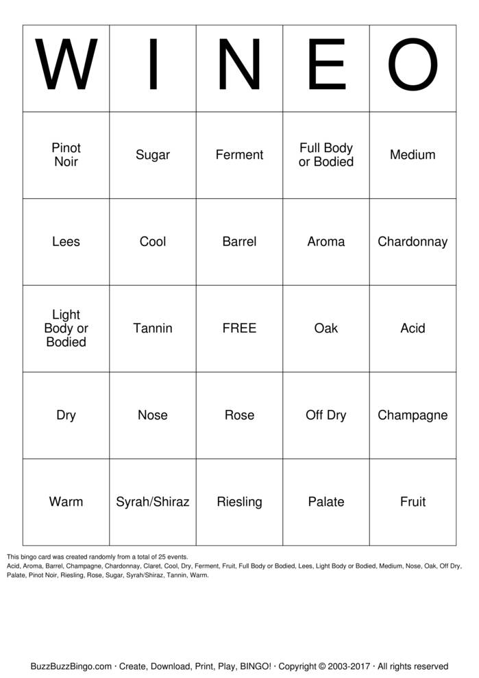 Wine O Bingo Cards To Download Print And Customize