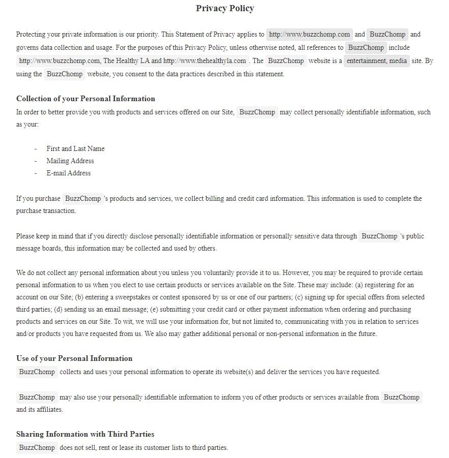 BuzzChomp Privacy Policy