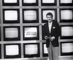 Alex Trebek on the new, modern Jeopardy! set