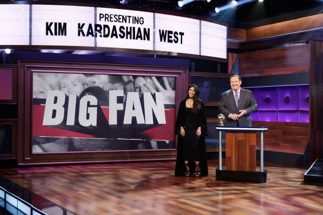 "BIG FAN - ""Big Fan Kim Kardashian West"" airs MONDAY, JANUARY 16 (10:00-10:30 p.m. EST) on the ABC Television Network. Among Kim Kardashian West's millions of followers around the world, three are chosen to battle it out to be crowned her #1 super fan. (ABC/Nicole Wilder) KIM KARDASHIAN WEST, ANDY RICHTER"