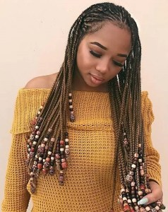 Pretty Fulani braids hairstyle with beads
