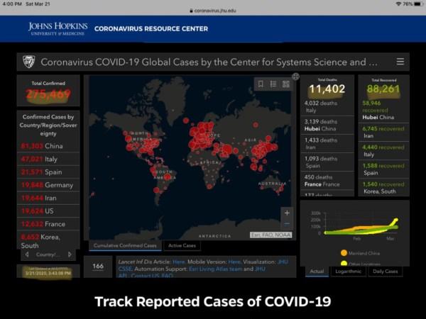 Coronavirus spread map screenshot infographic 10