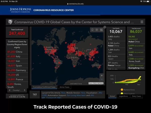 Coronavirus spread map screenshot infographic 3