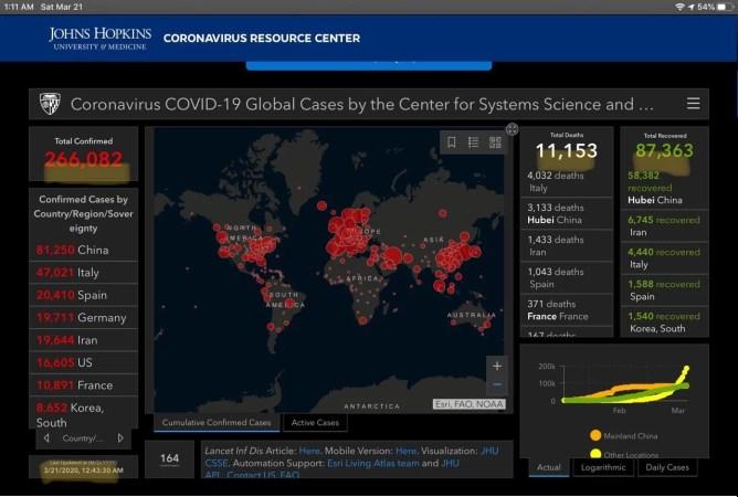 Coronavirus spread map screenshot infographic 8