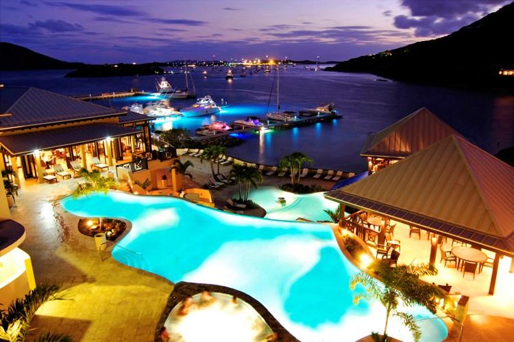 British Virgin Islands, SCRUB Island, NIGHTSHOT: overview pools to marina