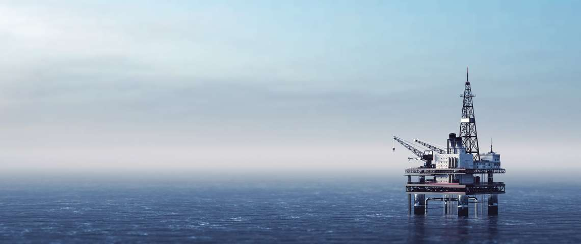 offshore drilling rig on the sea oil platform