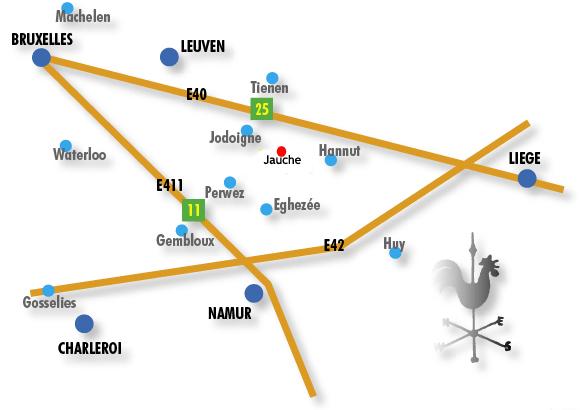 Jauche, Brabant Wallon au centre du triangle Bruxelles, Namur, Liège