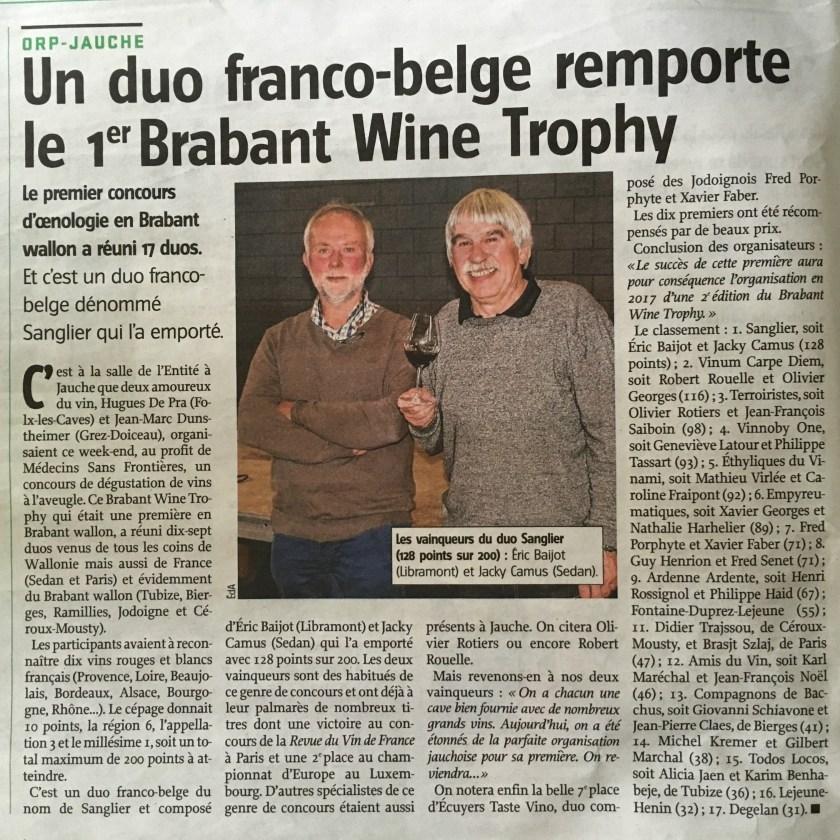 Presse Brabant Wine Trophy 2016 - Vers l'Avenir Brabant Wallon - 17 Mai 2016