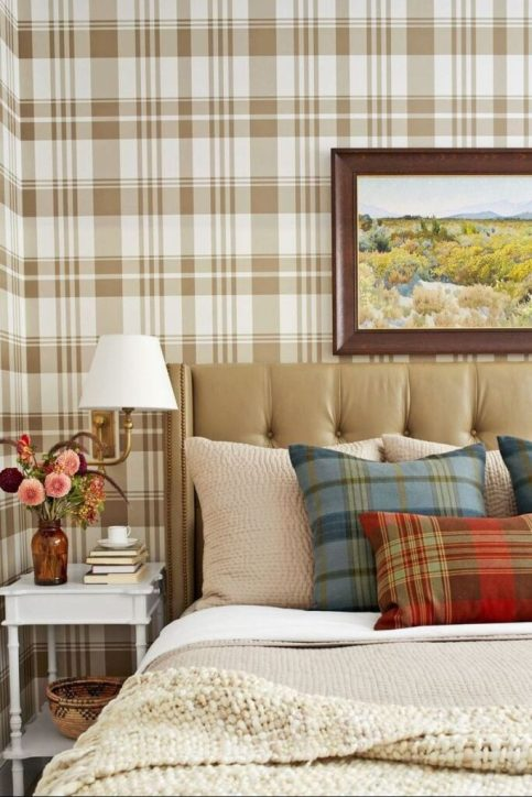fall decor ideas - tartan wallpaper
