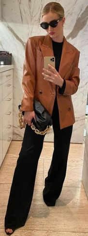 brown leather blazer outfit