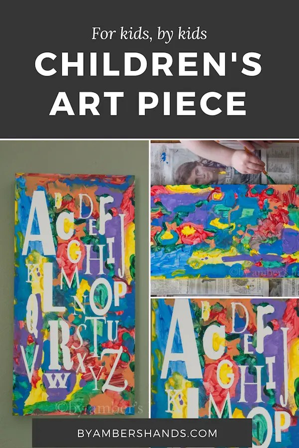 This is a great project for your kids to create for their bedrooms. They'll be so proud and you'll love to hang it up! For detailed instructions on how to make this with your kids, click the link! #art #kids #project #paint #alphabet