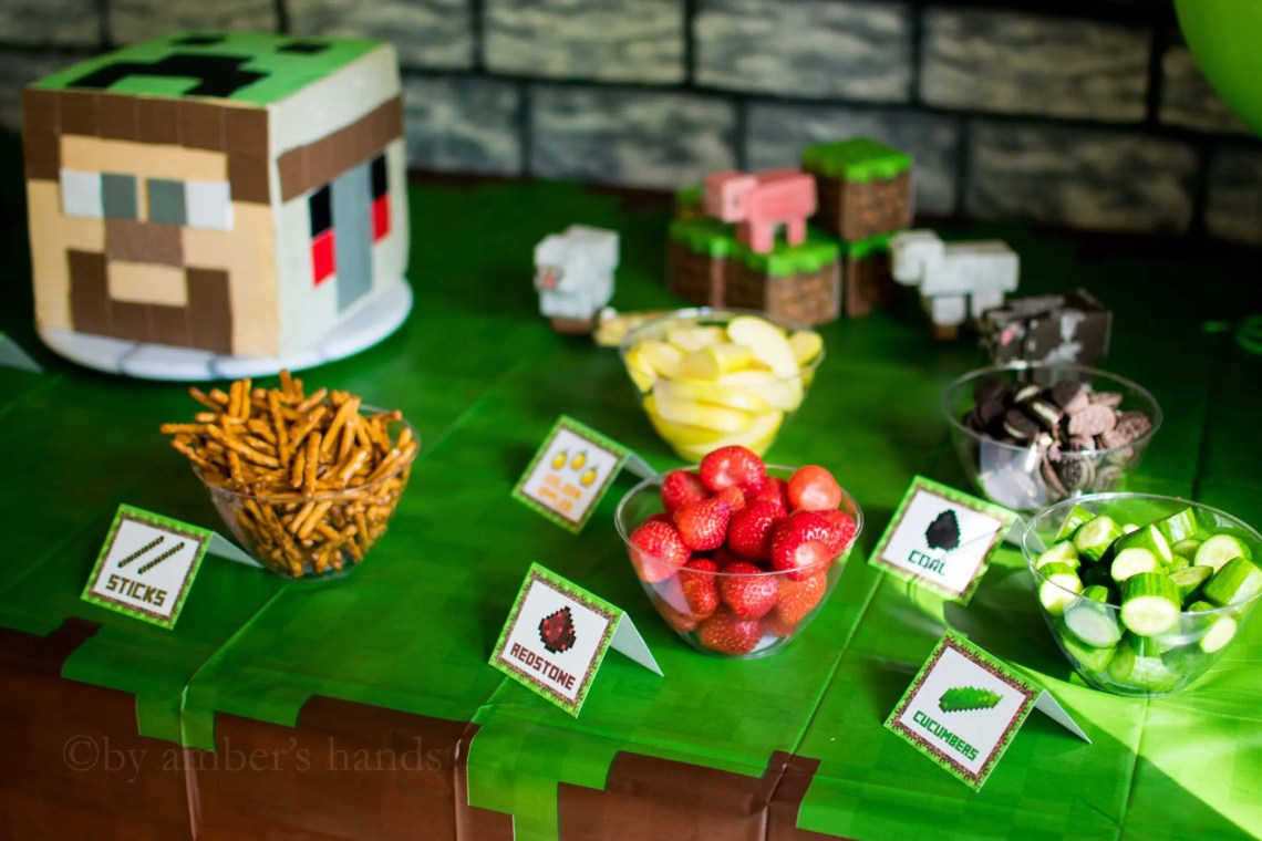 Minecraft birthday party food table