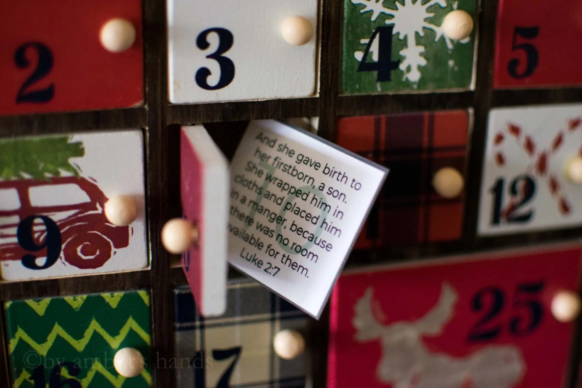 Free Advent Calendar Printables: Advent activities and scripture -by amber's hands-