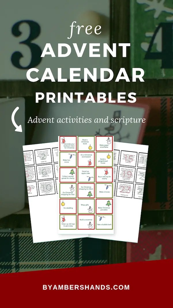 Get free printables for your advent calendar! Fantastic activities to do with your kids, plus scripture each day to tell the Christmas story! #advent #calendar #free #printables
