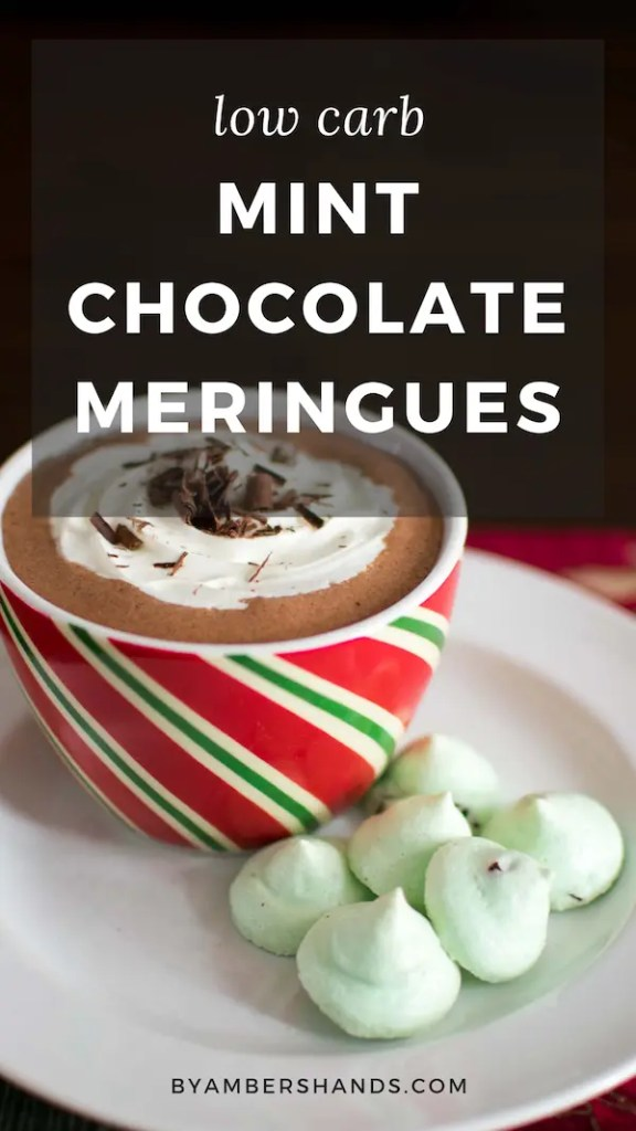 "These ""forgotten kisses"" are remade into a low carb Christmas cookie that's sure to delight even your non-keto friends! Light and crisp, these mint chocolate cookies are a perfect finish to your holiday dinner. #keto #lowcarb #christmas #cookies #holiday #meringues #sugarfree"