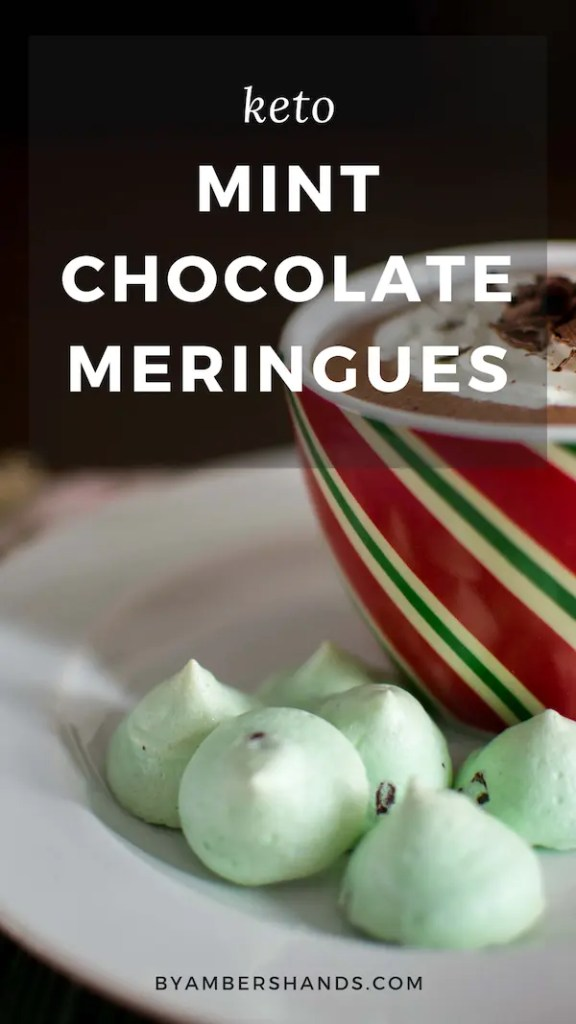 These keto Christmas cookies will delight everyone in your life! Crisp mint chocolate meringues are light and airy and the perfect finish to your holiday dinner! #keto #lowcarb #christmas #cookies #holiday #meringues #sugarfree