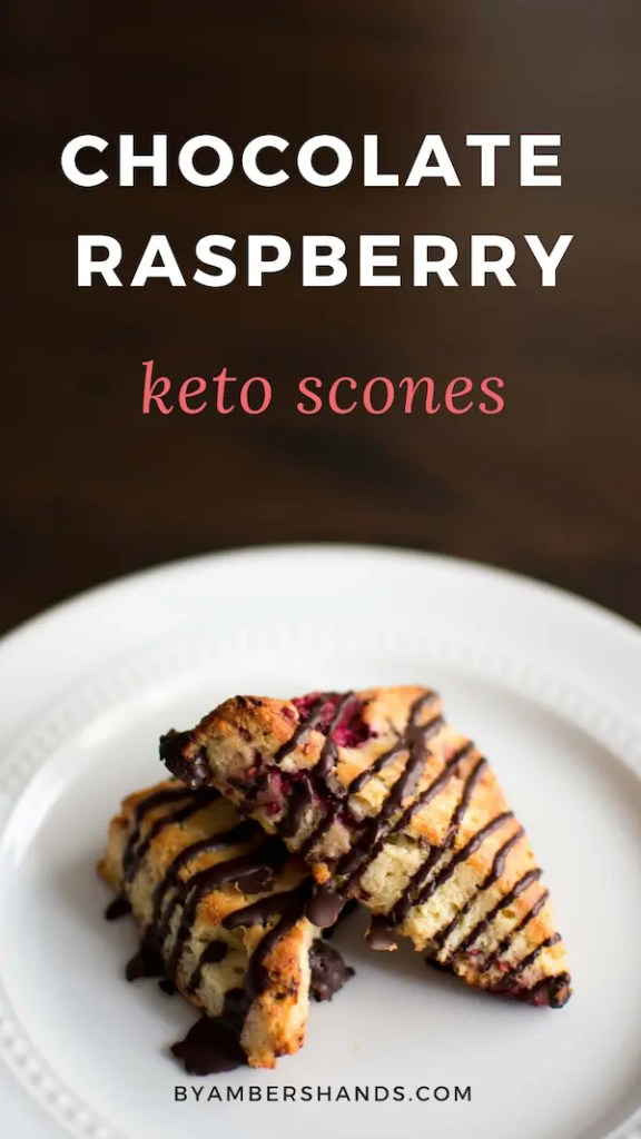 These Low Carb Chocolate Raspberry Scones are every bit as delicious as they look! Tender and flaky scones studded with raspberries and dark chocolate. A keto breakfast dream! #lowcarb #keto #scones #glutenfree #grainfree #raspberry #chocolate #breakfast #brunch
