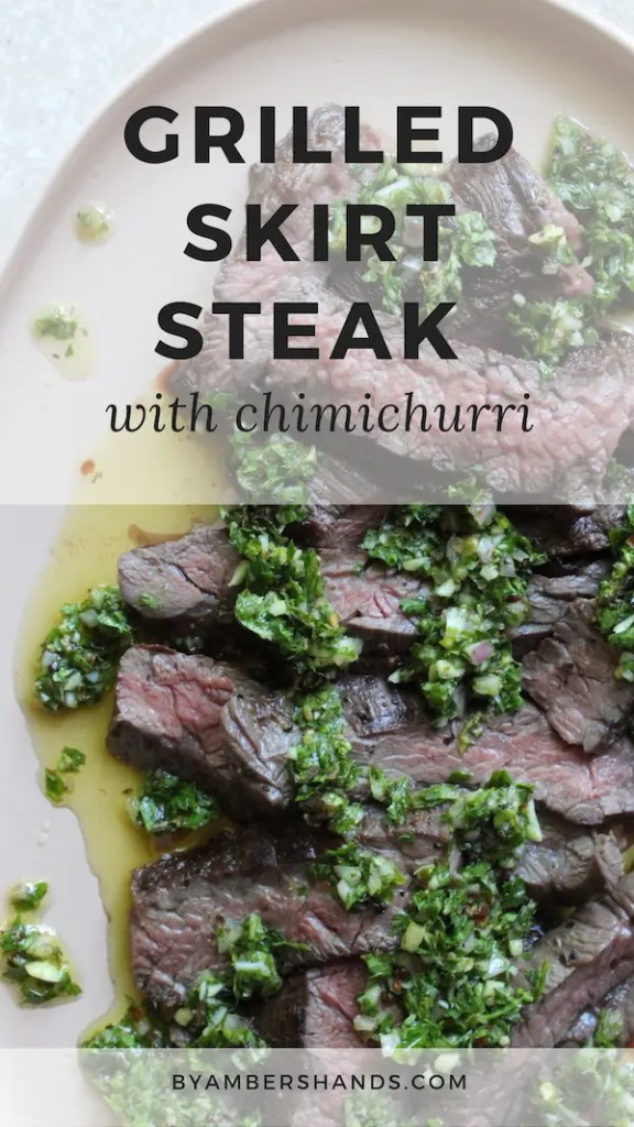 Learn how to grill the perfect skirt steak and pair with chimichurri for an easy, delicious, low carb summer meal! #keto #lowcarb #grilling #skirtsteak #chimichurri #glutenfree #grainfree #dinner""