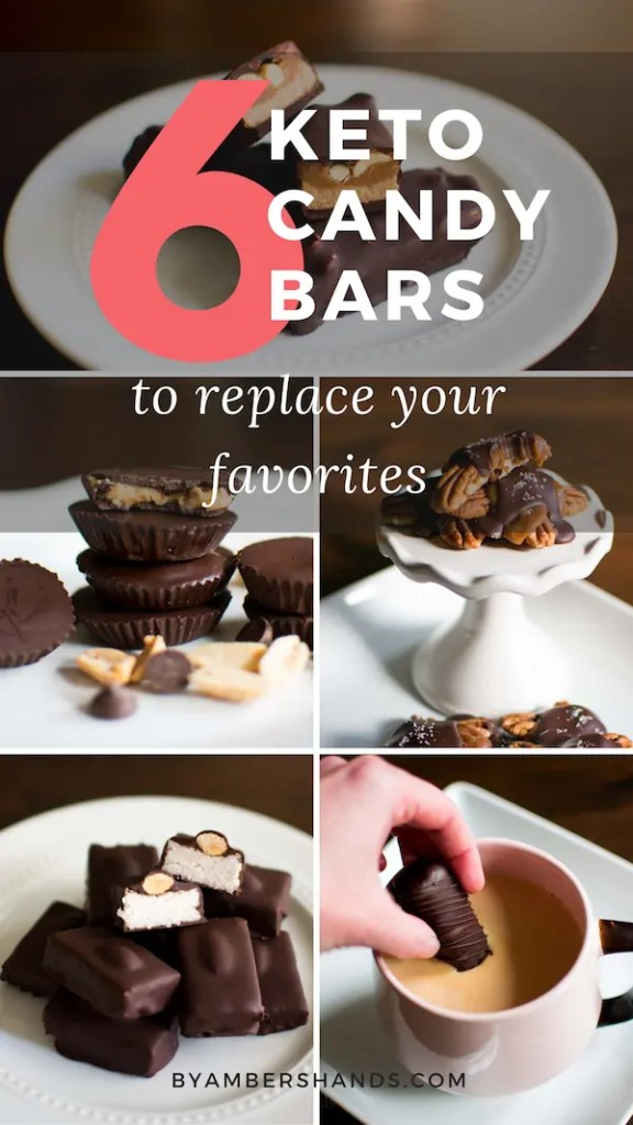 These 6 Keto Candy Bars will make you forget all about the sugar-filled candies of your past. Resist temptation at the store by making these at home while keeping your carbs low! #keto #lowcarb #candy #candybars #chocolate #snickers #twix #almondjoy #turtles #peanutbuttercups