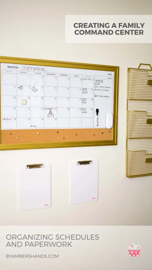 Creating a family command center is simpler than you think! It makes keeping track of everyone's activities much easier and helps us not lose important papers. Find out what we used to make ours. #commandcenter #organization #calendar #files #papers #household #schedules #baskets #clipboards