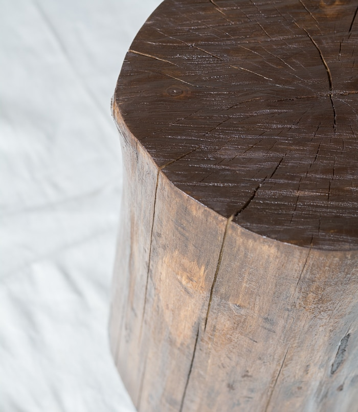 Learn how to make tree stump side table by staining and finishing a stump! It's easy and way cheaper than buying one in a store...just takes a little patience!