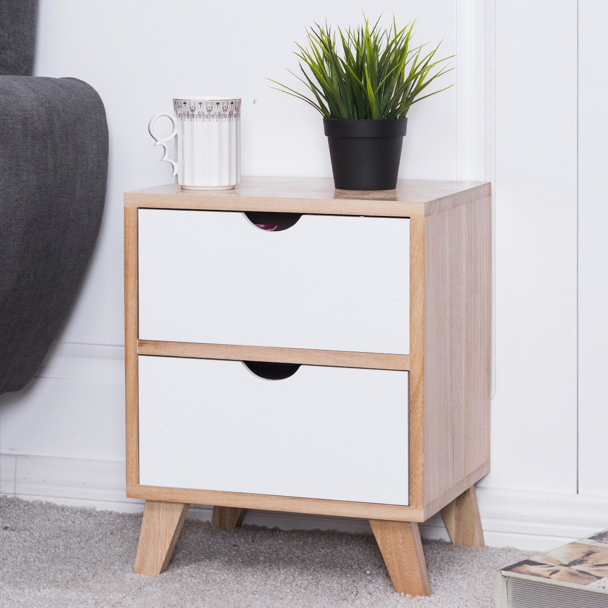 2 Drawers End Storage Wood Cabinet Bedroom Nightstand – By Choice ...