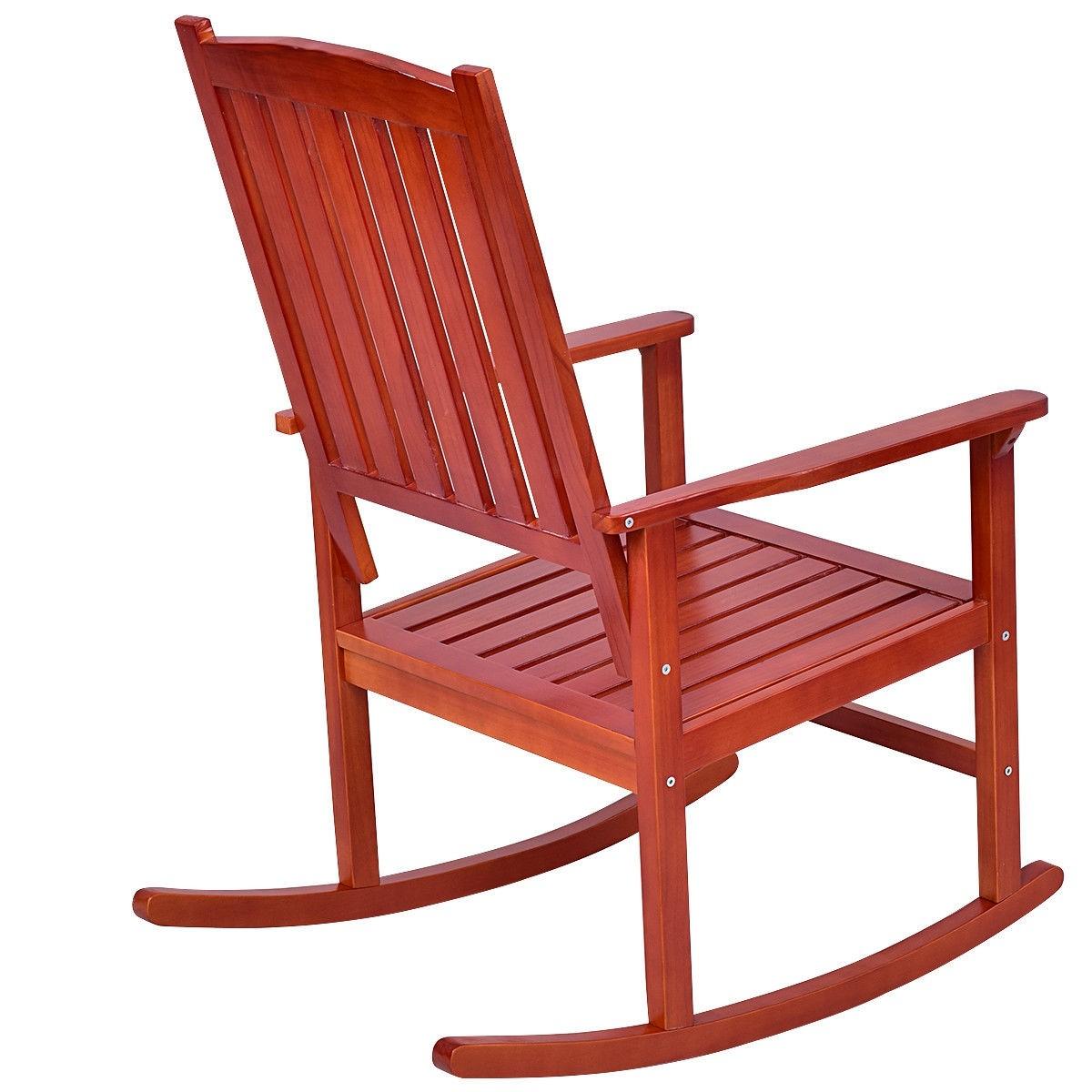 Set Of 2 Indoor Outdoor Deck Wood Rocking Chair