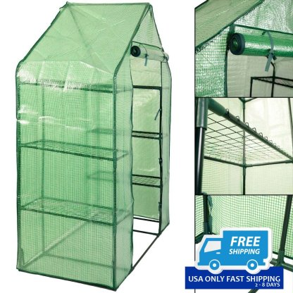 Portable Mini Outdoor Walk-in 8 Shelves Greenhouse