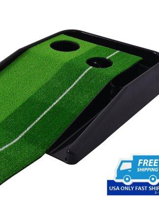 8FT Golf Practice Putting Mat Training Green Grass Turf Ball Return In/Outdoor