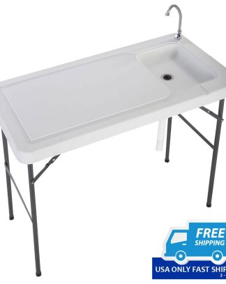 Folding Portable Fish Hunting Cleaning Cutting Table Camping Sink Faucet