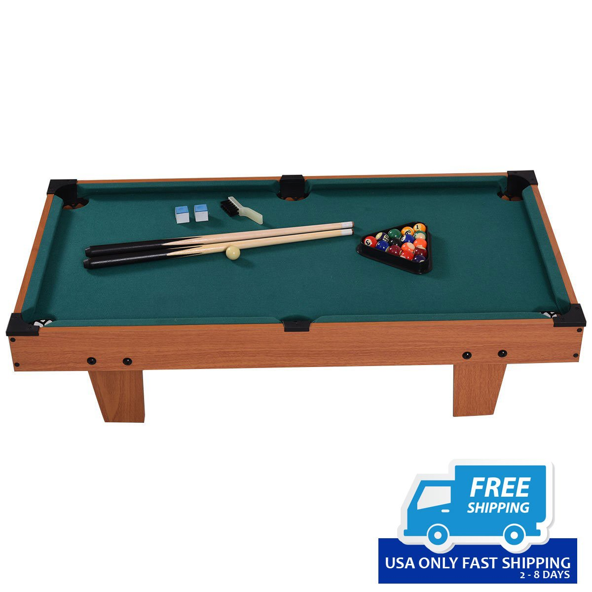 Mini Table Top Pool Table Game Billiard Set Cues Balls Gift - Pool table top only