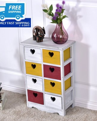 Colorful Wooden Nightstand with 8 Storage drawers