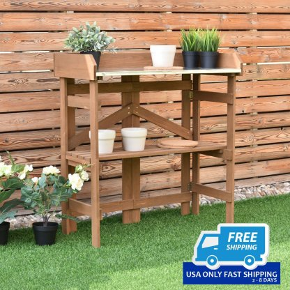 Wooden Potting Bench Garden Planting Workstation Shelves