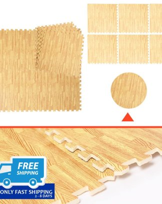 48 Sq Ft EVA Foam Floor Interlocking Mat Show Floor Gym Mat Wood Color