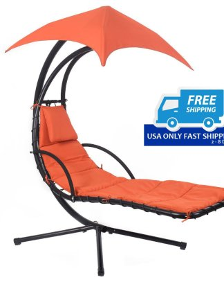 Hanging Chaise Lounge Chair with Canopy