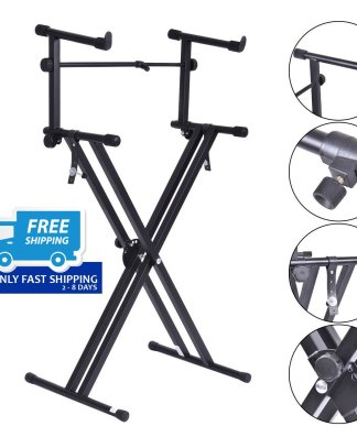 Pro Adjustable 2-Tier X Style Dual Keyboard Stand