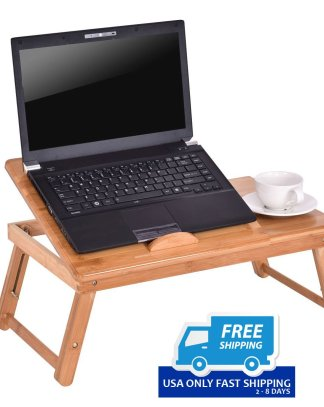 Bamboo Folding Laptop Table Bed Notebook Tray