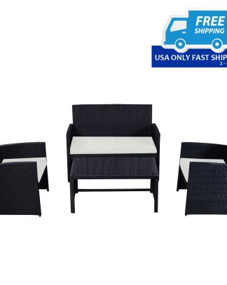 4 pcs Patio Garden Wicker Rattan Cushioned Sofa