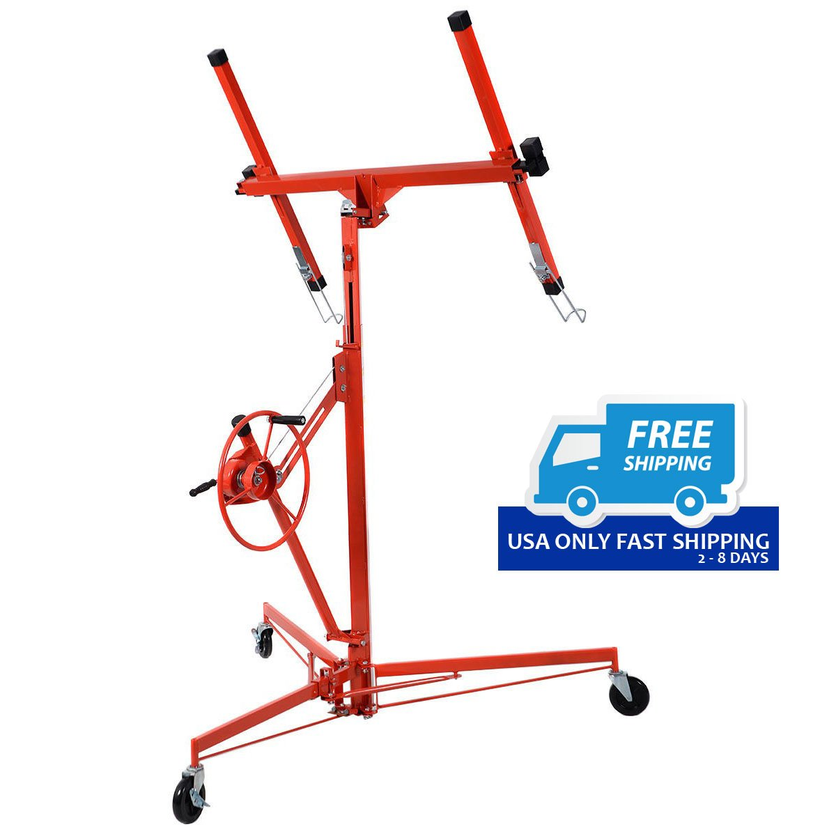 11′ Drywall Lift Panel Hoist Dry Wall Jack Rolling Caster Lifter ...