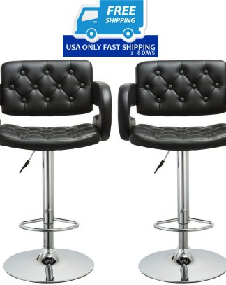 2 pcs PU Leather Adjustable Pub Chair Bar Stool