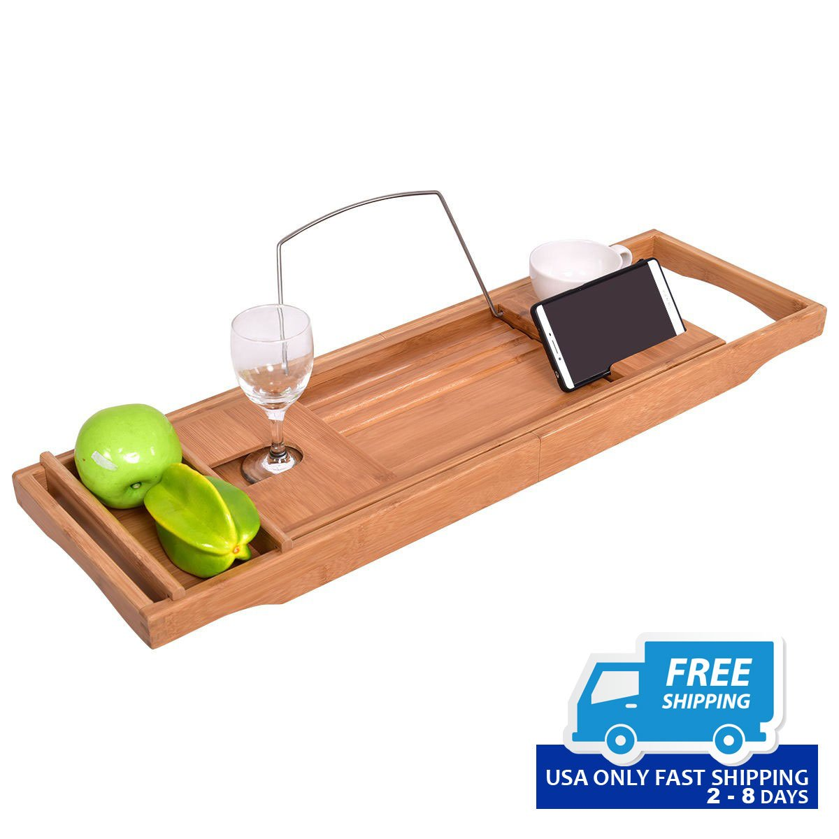 Adjustable Bamboo Bathtub Tray with Book Holder – By Choice Products
