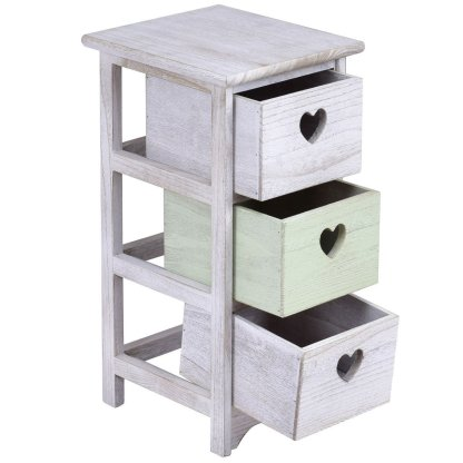 Wood Nightstand w/ 3 Hollow Heart-Shaped Drawers