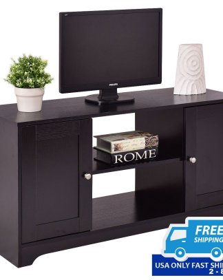 Durable Wooden TV Stand with Storage Cabinets