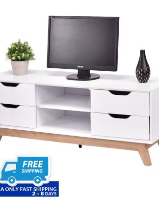 White Morden TV Stand with Shelves and Drawers